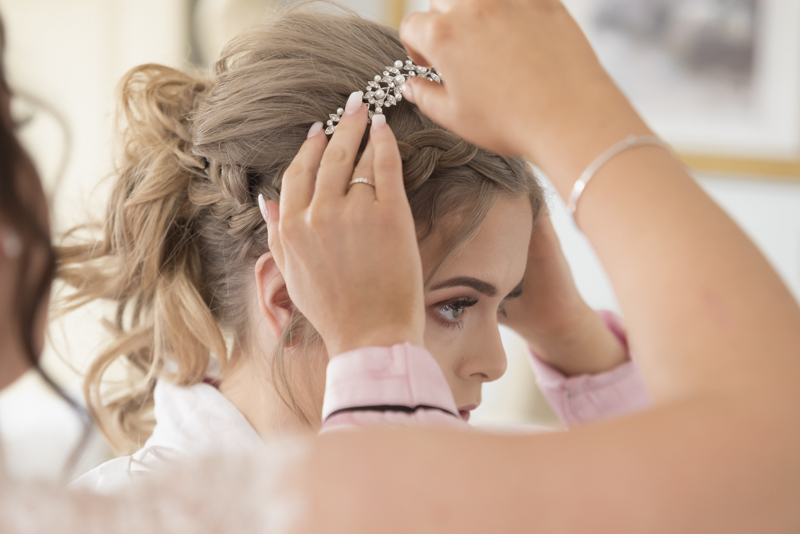 before the wedding ceremony at shottle hall captured by mk wedding photography
