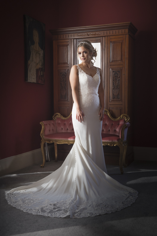 the shottle hall derbyshire, portrait of the bride by mk wedding photography