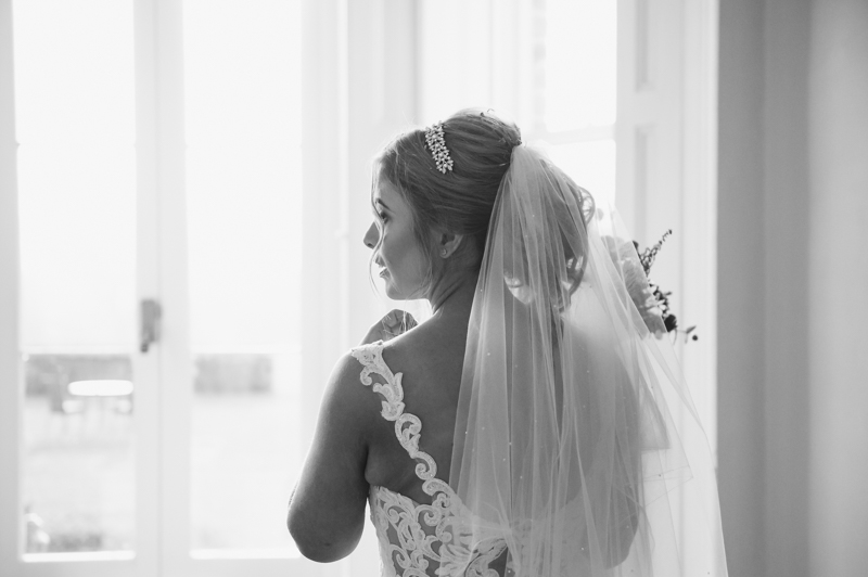 portrait of the bride at the shottle hall in derbyshire