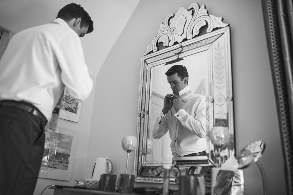 Groom preparation for the wedding day.
