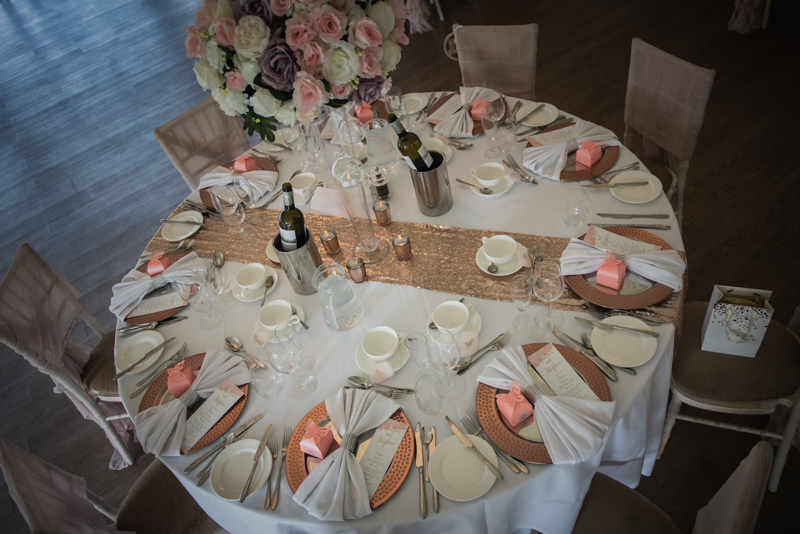 thoughtful details and colours on a wedding table