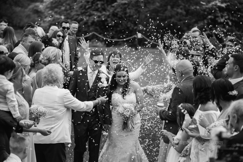 Wedding at Ashton Lodge, confetti photos